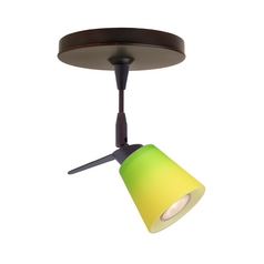 Besa Lighting Modern Directional Spot Light with Green Glass in Bronze Finish 1SP-5042GY-BR