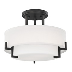 Modern Ceiling Light with White Glass in Bronze Finish