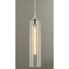 Satin Nickel Mini-Pendant Light with Clear Seedy Cylinder Glass