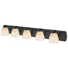 5-Light Mosaic Glass Bathroom Light in Bronze