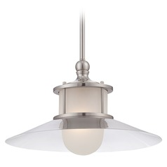 Farmhouse Nautical Pendant Light Brushed Nickel New England by Quoizel Lighting