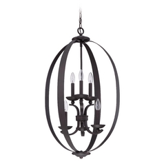 Jeremiah Lighting Ensley Aged Bronze Brushed Pendant Light