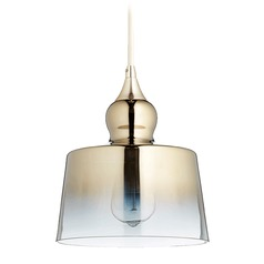 Quorum Lighting Satin Gold Mini-Pendant Light with Drum Shade