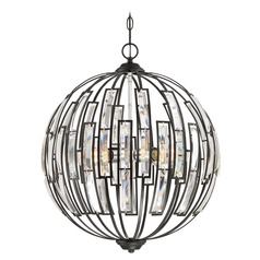 Transitional Pendant Light Black Dawn by Quoizel Lighting