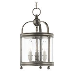 Mini-Pendant Light with Clear Glass in Historic Nickel Finish