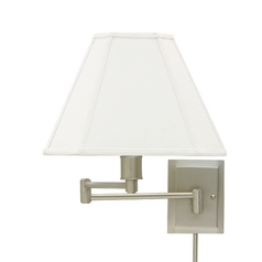 Swing Arm Lamp with White Shade in Pewter Finish