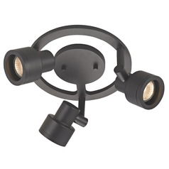 3-Light Stepped Cylinder Round Spot Light - Black - GU10 Base