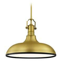 Farmhouse Large Pendant Light Brass / Black 18.38-Inch Wide