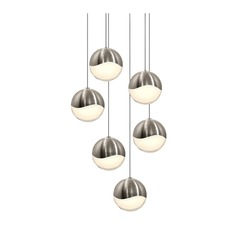 Sonneman Grapes Satin Nickel 6 Light LED Multi-Light Pendant