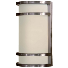 Modern Outdoor Wall Light with White Glass in Brushed Stainless Steel Finish