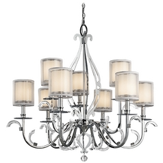 Kichler Chandelier with White Glass in Chrome Finish