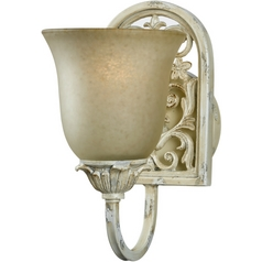 Bathroom Light with Brown Glass in Ivory Cottage Finish