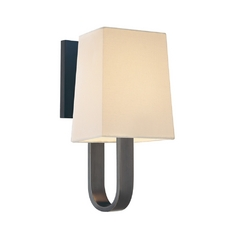 Sconce Wall Light with White Shade in Rubbed Bronze Finish