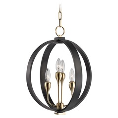 Mid-Century Modern Orb Chandelier Bronze 4-Lt by Hudson Valley