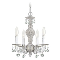 Crystorama Paris Market 4-Light Crystal Chandelier in Antique White