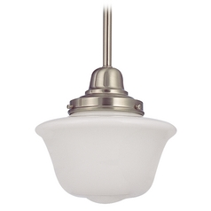 8-Inch Mini-Pendant Light in Satin Nickel with Schoolhouse Glass
