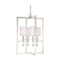 Modern Pendant Light with White Shades in Polished Nickel Finish