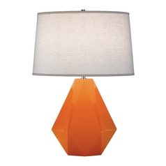 Modern Art Deco Table Lamp Pumpkin / Polished Nickel Delta by Robert Abbey