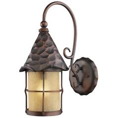 Outdoor Wall Light with Beige / Cream Glass in Antique Copper Finish