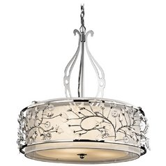 Kichler Pendant Light with Beige / Cream Glass in Chrome Finish