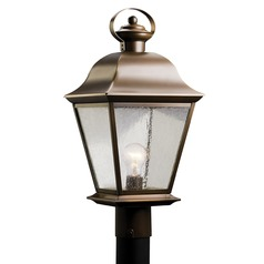 Kichler Outdoor Post Light with Clear Seeded Glass
