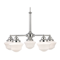 Design Classics Lighting Schoolhouse Chandelier in Polished Chrome Finish with Five Lights CA5-26 / GC6