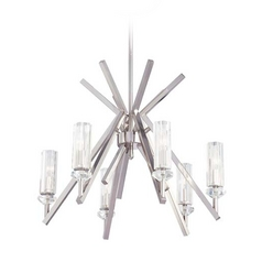 Modern Chandelier with Clear Glass in Polished Nickel Finish
