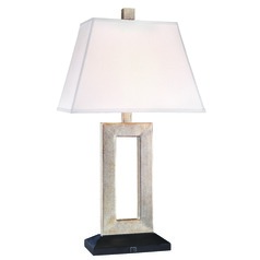 Bronze Table Lamp with Rectangle White Linen Lamp Shade 30-Inch Tall