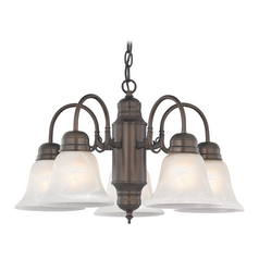 Design Classics Lighting Mini-Chandelier with Alabaster Glass in Bronze Finish 709-220 GL1032-ALB