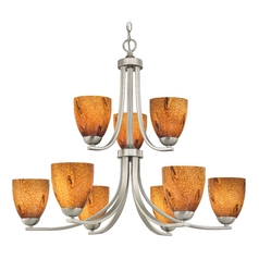 Modern Chandelier with Brown Art Glass in Satin Nickel Finish