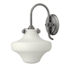 Sconce Wall Light with White Glass in Antique Nickel