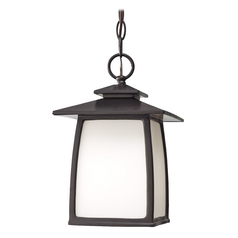 Outdoor Hanging Light with White Glass in Oil Rubbed Bronze Finish