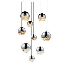 Sonneman Grapes Polished Chrome 9 Light LED Multi-Light Pendant