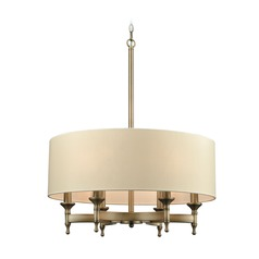 Elk Lighting Pembroke Brushed Antique Brass Pendant Light with Drum Shade