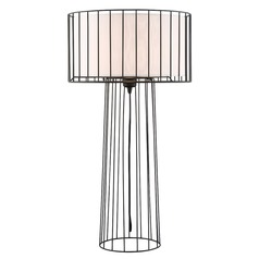 Lite Source Winslow Black Table Lamp with Drum Shade