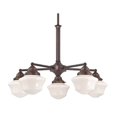 Design Classics Lighting Schoolhouse Chandelier with Five Lights in Bronze Finish CA5-220 / GC6