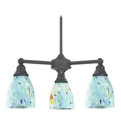Design Classics Lighting Mini-Chandelier with Blue Glass in Matte Black Finish 598-07 GL1021MB