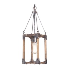 Craftmade Lighting Mason Fired Steel/natural Wood Mini-Pendant Light with Rectangle Shade