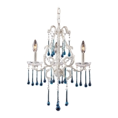 Mini-Chandelier in Antique White Finish