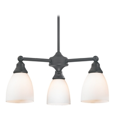 Mini-Chandelier with White Glass in Matte Black Finish