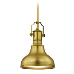 Industrial Small Pendant Light Brass 8.63-Inch Wide