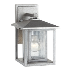 Outdoor Wall Light with Clear Glass in Weathered Pewter Finish