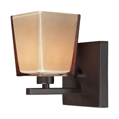 Sconce Wall Light with Brown Glass in Oiled Bronze Finish