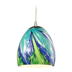 LED Mini-Pendant Light with Blue Glass