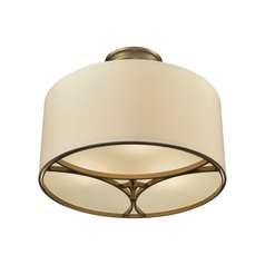 Elk Lighting Pembroke Brushed Antique Brass Semi-Flushmount Light