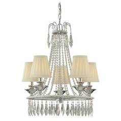 Minka Lighting, Inc. Mini-Chandelier with Natural / Beige Shades in Chrome Finish 3131-77