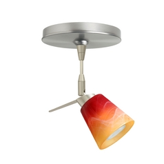 Modern Directional Spot Light with Orange Glass in Satin Nickel Finish