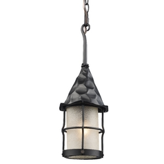 Outdoor Hanging Light with Beige / Cream Glass in Matte Black Finish