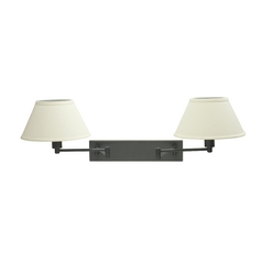 Swing Arm Lamp with White Shades in Oil Rubbed Bronze Finish
