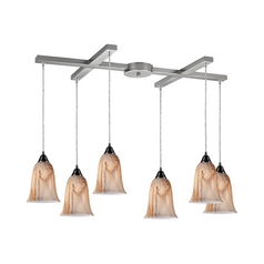 Modern Multi-Light Pendant Light with Alabaster Glass and 6-Lights